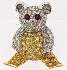 bear gold, diamond and ruby pin